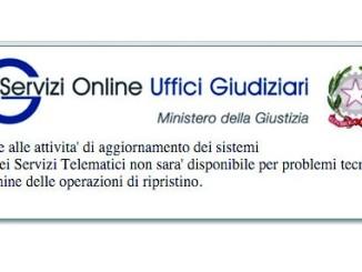 Interruzione dei servizi informatici del settore civile